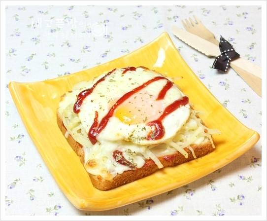 간단한 아이들 간식... 감자채 계란 피자토스트, 감자채 계란피자
